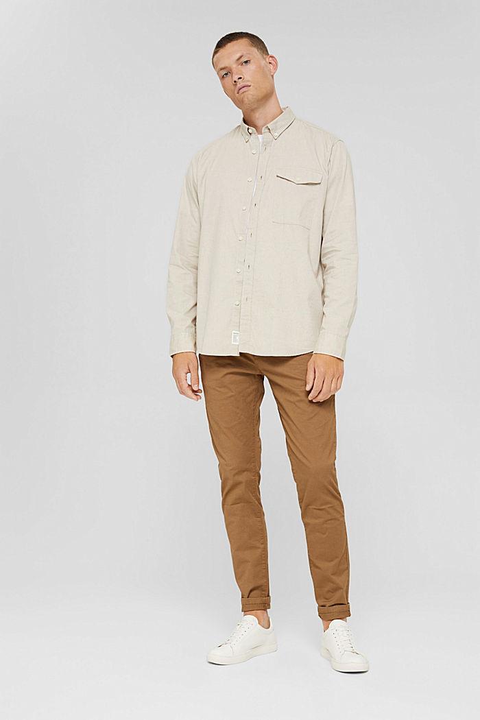 Button-Down-Hemd aus 100% Baumwolle, BEIGE, detail image number 6