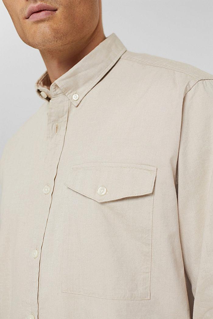 Button-Down-Hemd aus 100% Baumwolle, BEIGE, detail image number 2