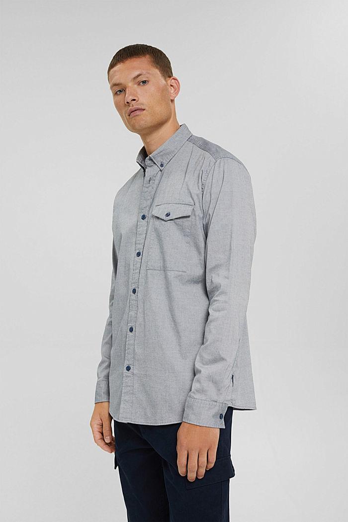 Košile s propínacím límečkem, 100% bavlna, NAVY, detail image number 0