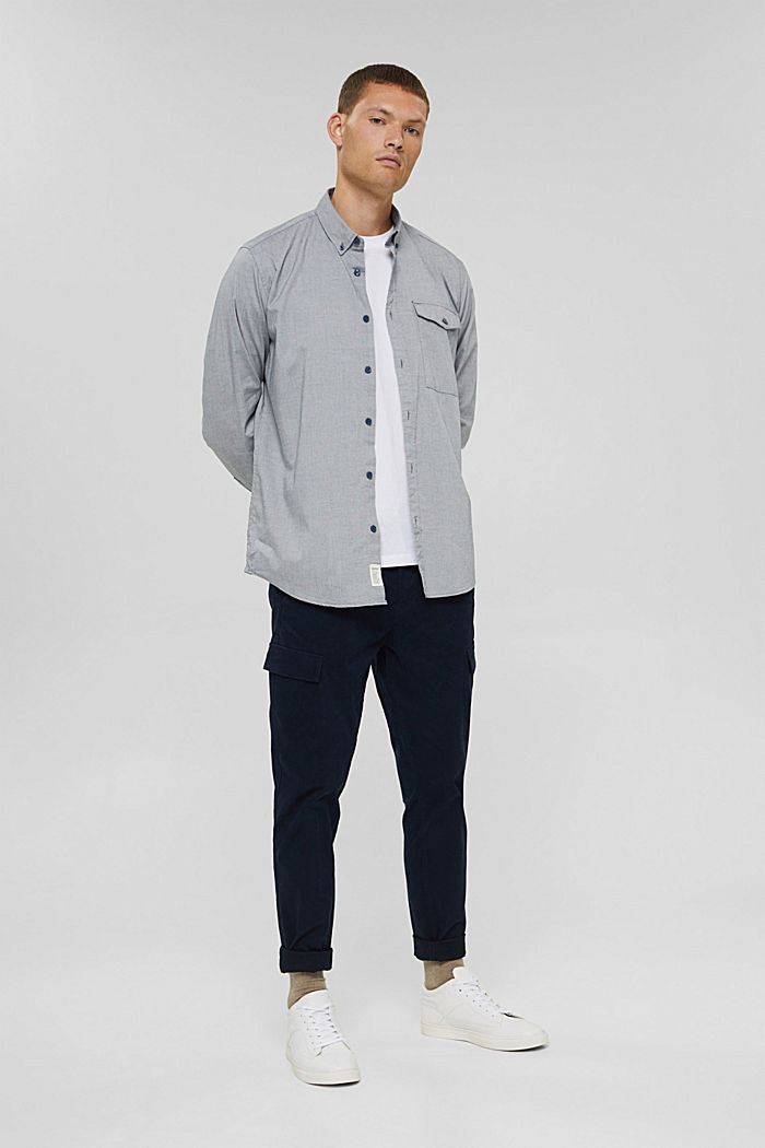 Košile s propínacím límečkem, 100% bavlna, NAVY, detail image number 1