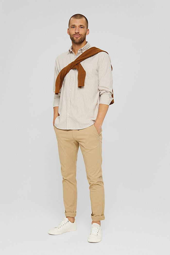 Gestreept overhemd van 100% katoen, BEIGE, detail image number 1