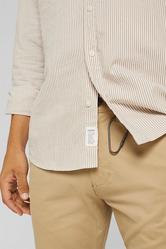 Gestreept overhemd van 100% katoen, BEIGE, detail image number 2
