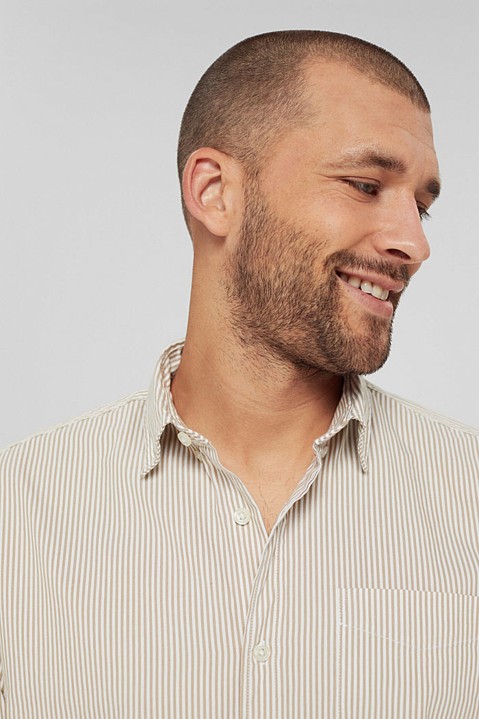 Gestreept overhemd van 100% katoen, BEIGE, detail image number 5