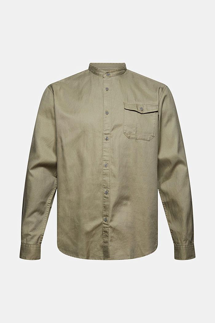 Chemise à col droit en coton bio mélangé