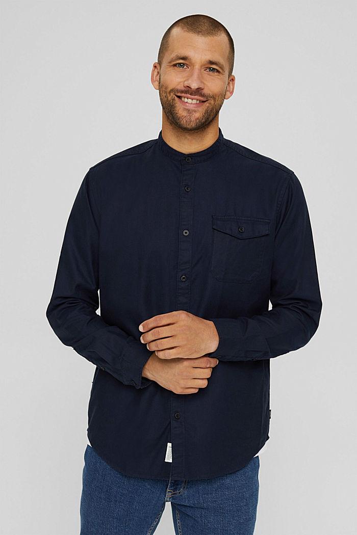 Košile se stojáčkem, ze směsi s bio bavlnou, NAVY, detail image number 0