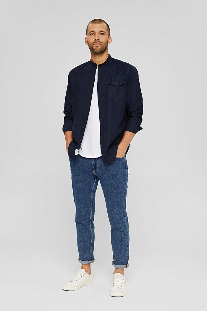 Košile se stojáčkem, ze směsi s bio bavlnou, NAVY, detail image number 1