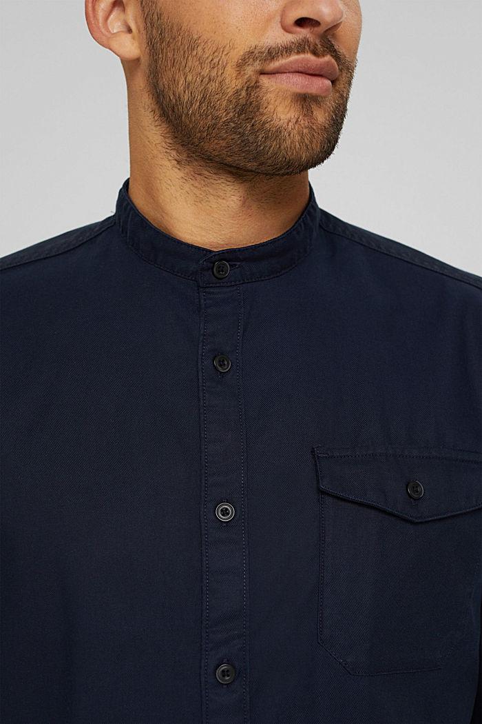 Košile se stojáčkem, ze směsi s bio bavlnou, NAVY, detail image number 2