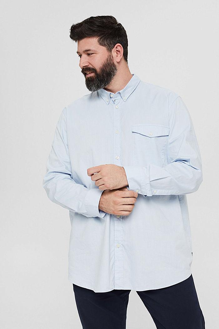 Chemise à col boutonné et poche à rabat, 100% coton, LIGHT BLUE, detail image number 0