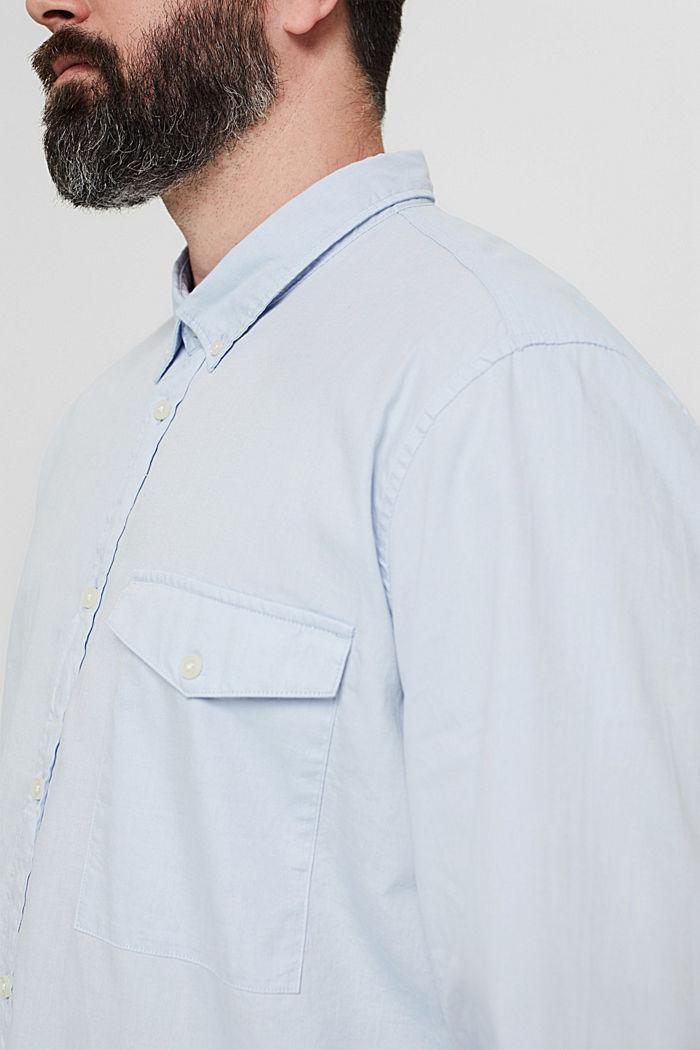 Chemise à col boutonné et poche à rabat, 100% coton, LIGHT BLUE, detail image number 2
