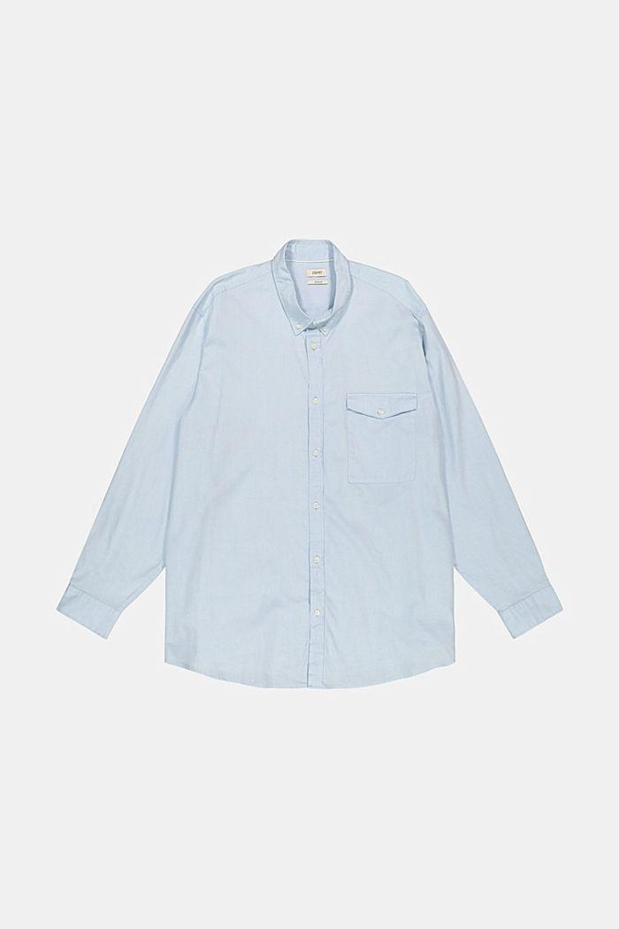 Chemise à col boutonné et poche à rabat, 100% coton