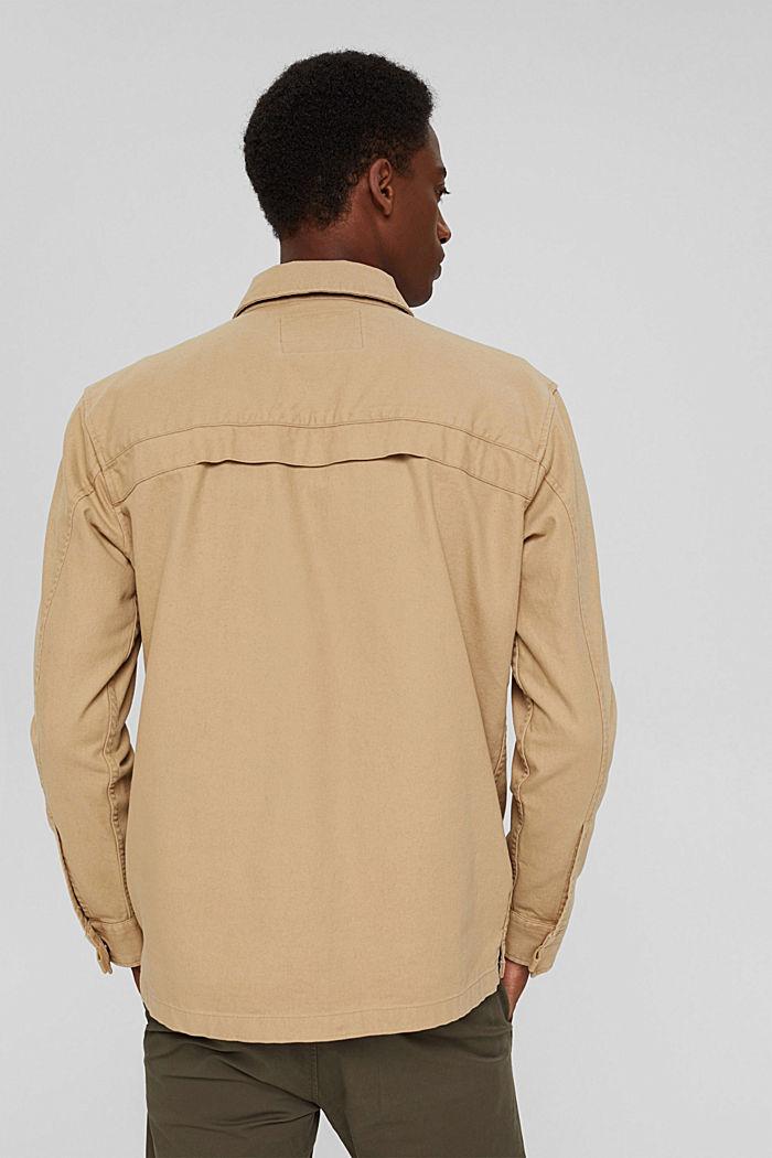 Veste chemise 100% coton, BEIGE, detail image number 3