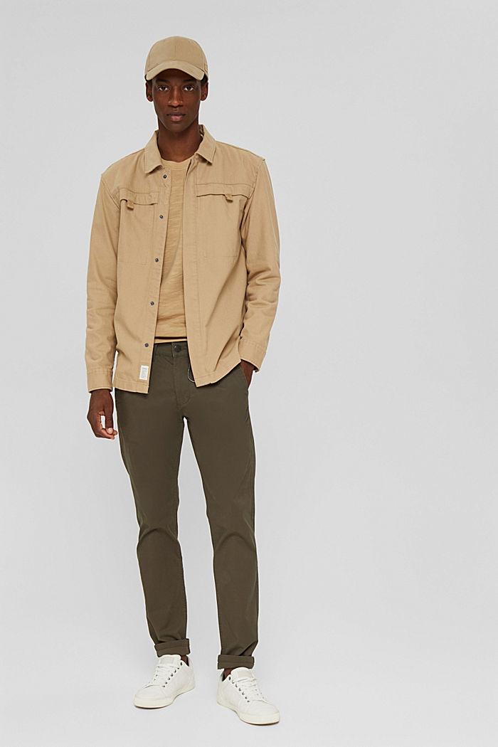 Veste chemise 100% coton, BEIGE, detail image number 1