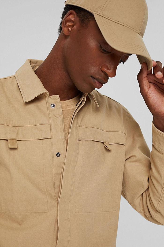 Veste chemise 100% coton, BEIGE, detail image number 6