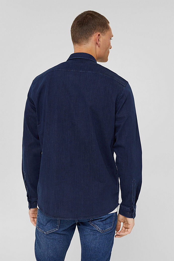 Denim shirt made of blended cotton, BLUE RINSE, detail image number 3