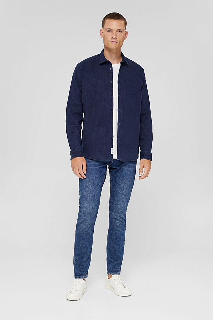 Denim shirt made of blended cotton, BLUE RINSE, detail image number 1