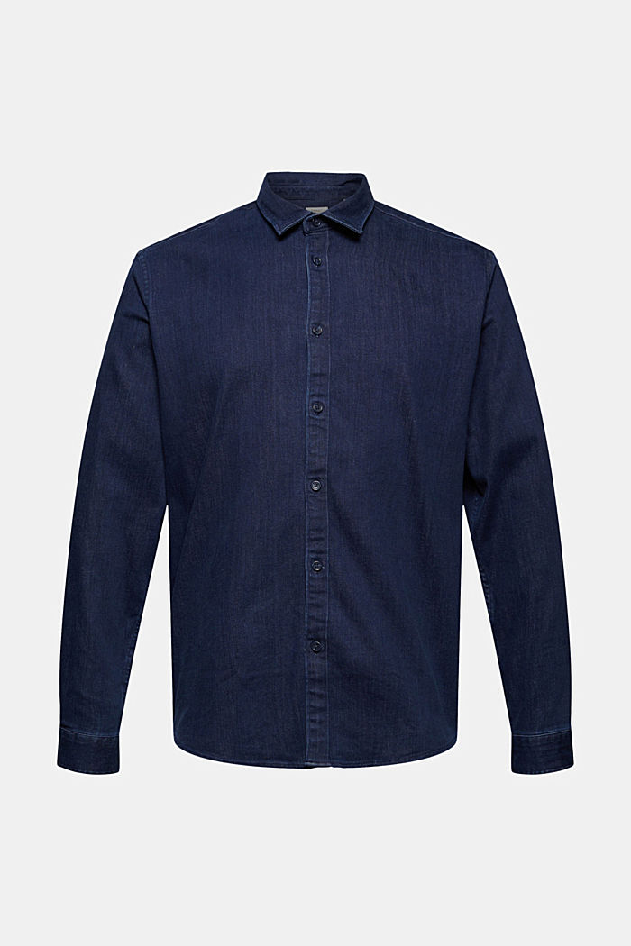 Denim shirt made of blended cotton