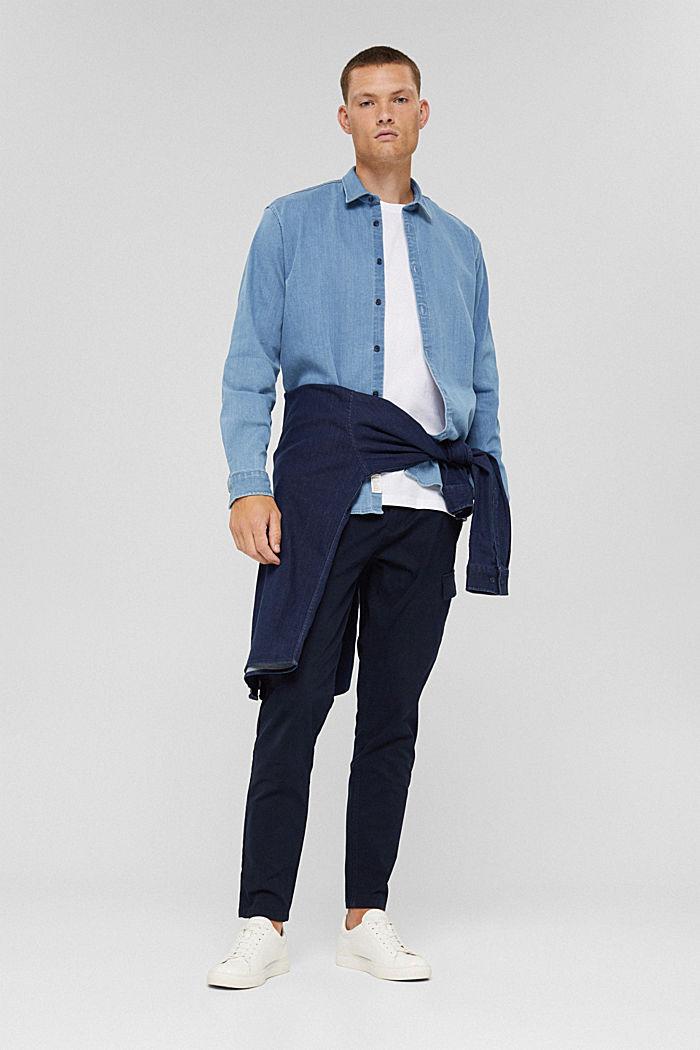 Chemise en jean en coton mélangé, BLUE LIGHT WASHED, detail image number 1