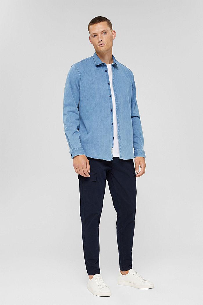 Chemise en jean en coton mélangé, BLUE LIGHT WASHED, detail image number 6
