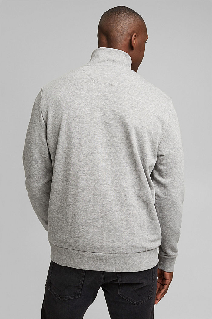 Blended cotton sweatshirt with a zip collar, MEDIUM GREY, detail image number 3