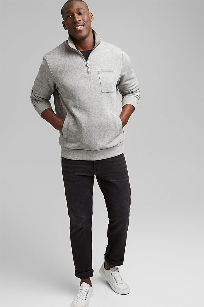 Blended cotton sweatshirt with a zip collar, MEDIUM GREY, detail image number 1