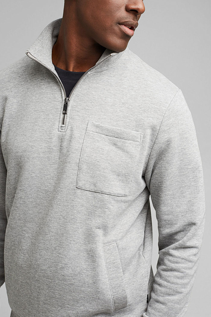 Blended cotton sweatshirt with a zip collar, MEDIUM GREY, detail image number 2