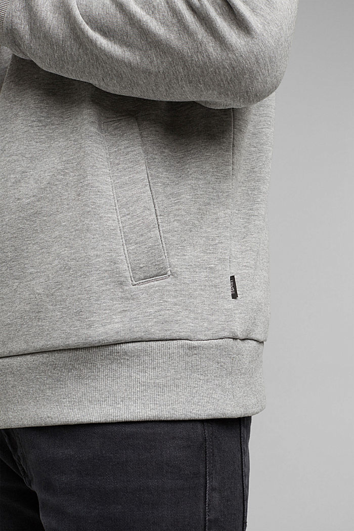Blended cotton sweatshirt with a zip collar, MEDIUM GREY, detail image number 5