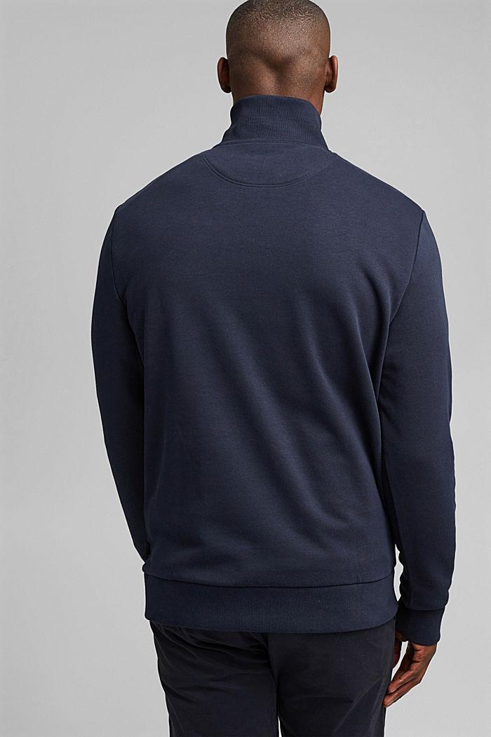 Sweat-shirt à col zippé, coton biologique, NAVY, detail image number 3
