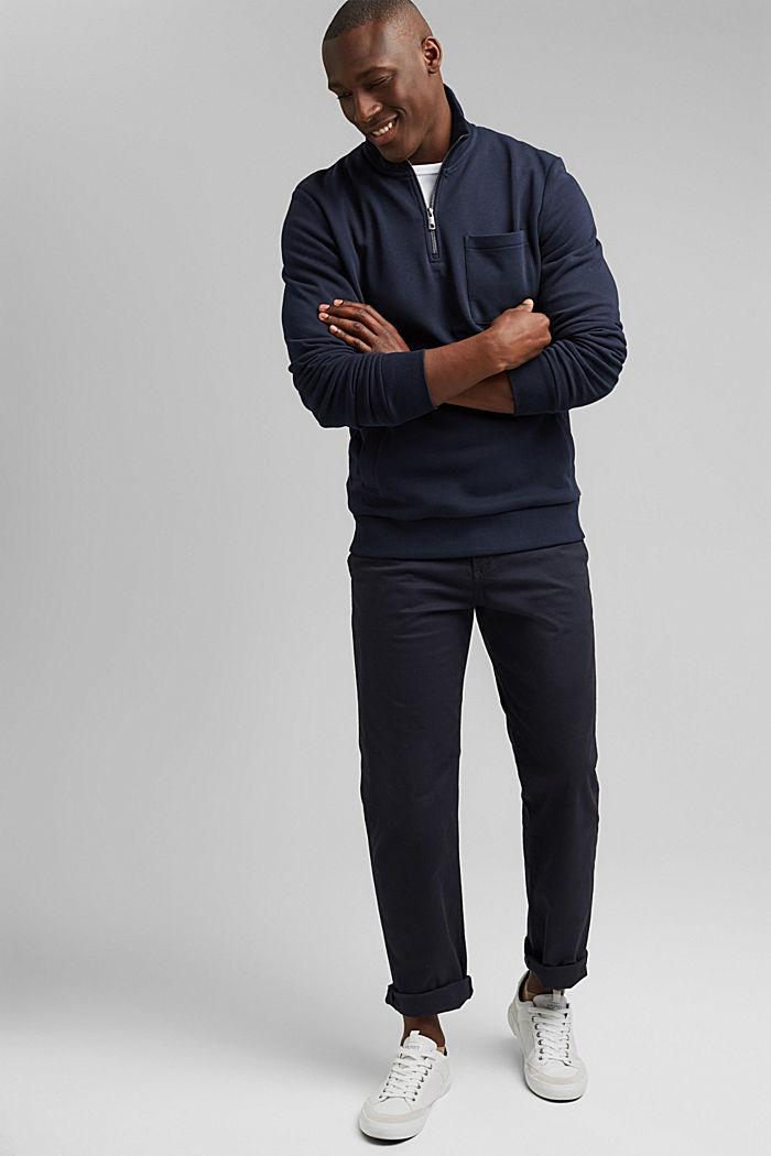 Sweat-shirt à col zippé, coton biologique, NAVY, detail image number 1