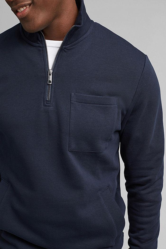 Sweat-shirt à col zippé, coton biologique, NAVY, detail image number 2