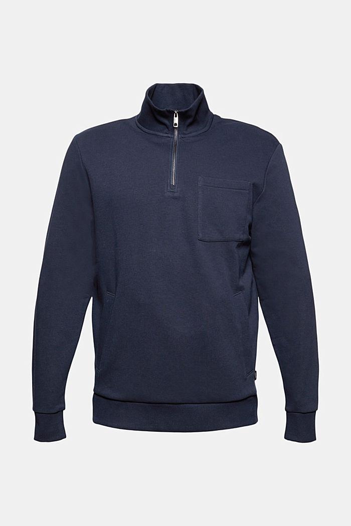 Sweatshirt met een kraag met rits, biologisch katoen