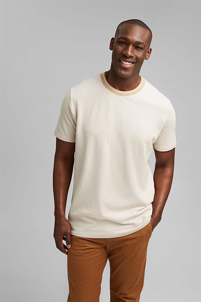 Piqué T-shirt van 100% biologisch katoen, BEIGE, detail image number 0