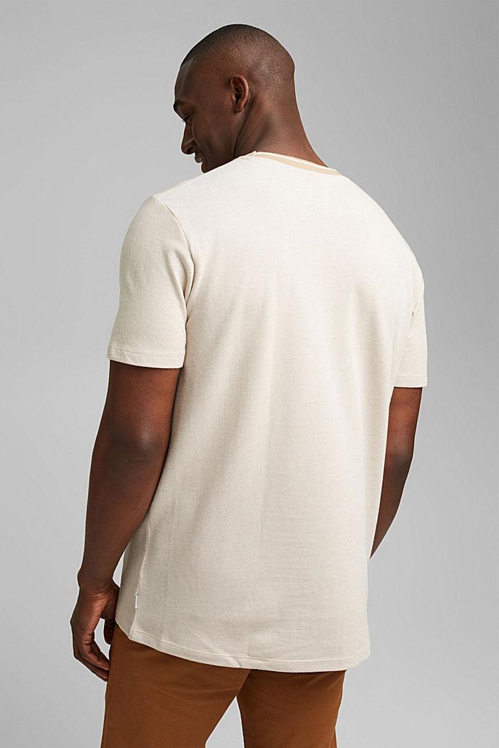 Piqué T-shirt van 100% biologisch katoen, BEIGE, detail image number 3