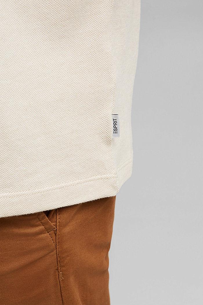 Piqué T-shirt van 100% biologisch katoen, BEIGE, detail image number 1