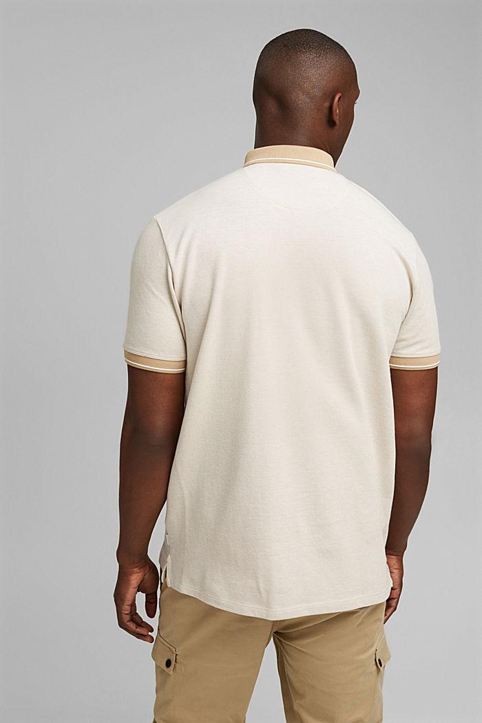 Polo de piqué en 100% algodón ecológico, BEIGE, detail image number 3