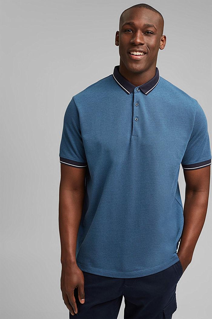 Piequé-Polo aus 100% Bio-Baumwolle, PETROL BLUE, detail image number 0