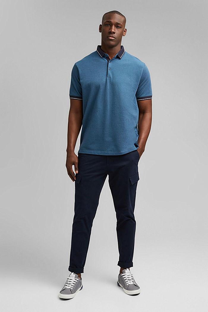 Piequé-Polo aus 100% Bio-Baumwolle, PETROL BLUE, detail image number 2