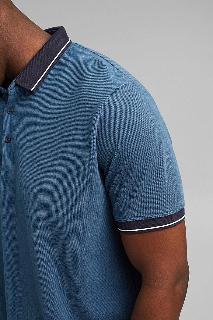 Piequé-Polo aus 100% Bio-Baumwolle, PETROL BLUE, detail image number 1