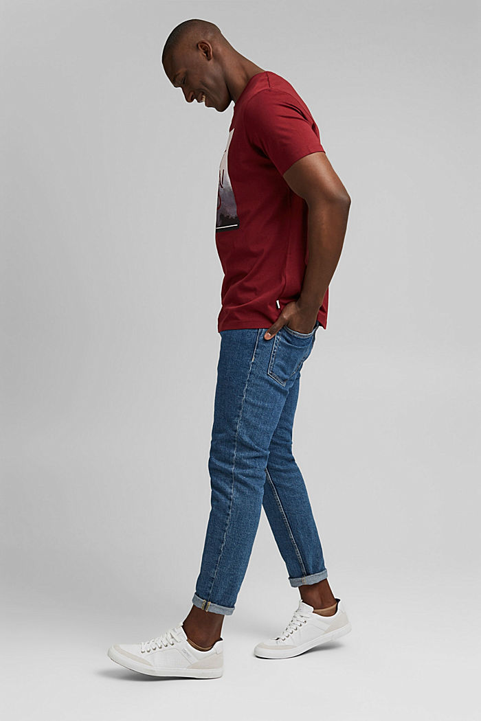 Jersey-T-Shirt mit Foto-Print, Bio-Baumwolle, GARNET RED, detail image number 2