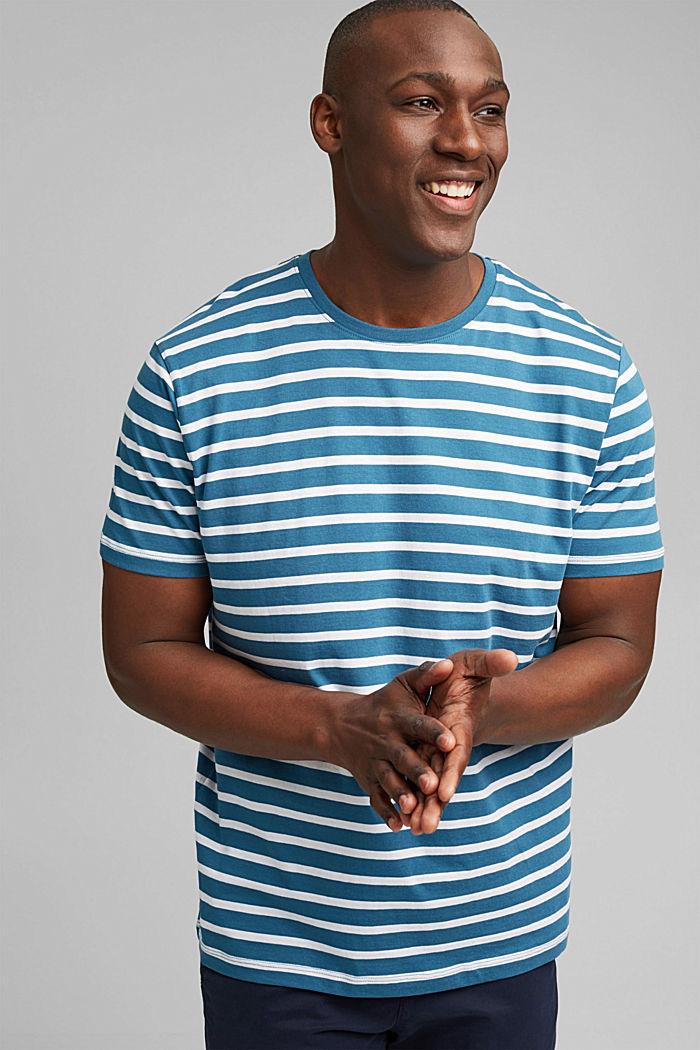 Pruhované tričko ze 100% bio bavlny, PETROL BLUE, detail image number 0