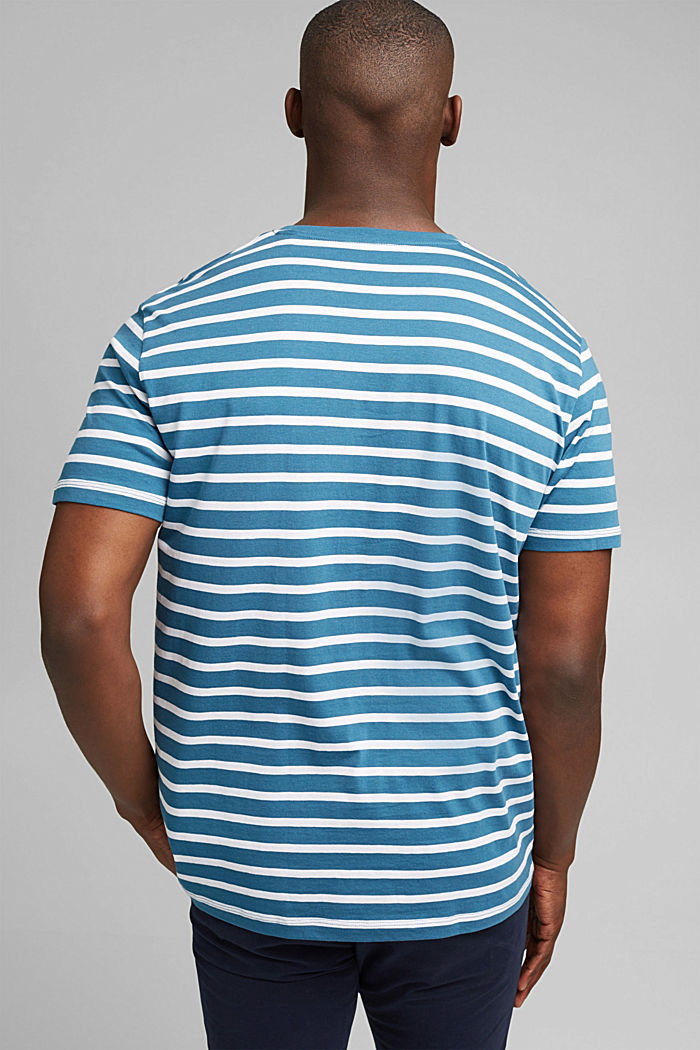 Pruhované tričko ze 100% bio bavlny, PETROL BLUE, detail image number 3