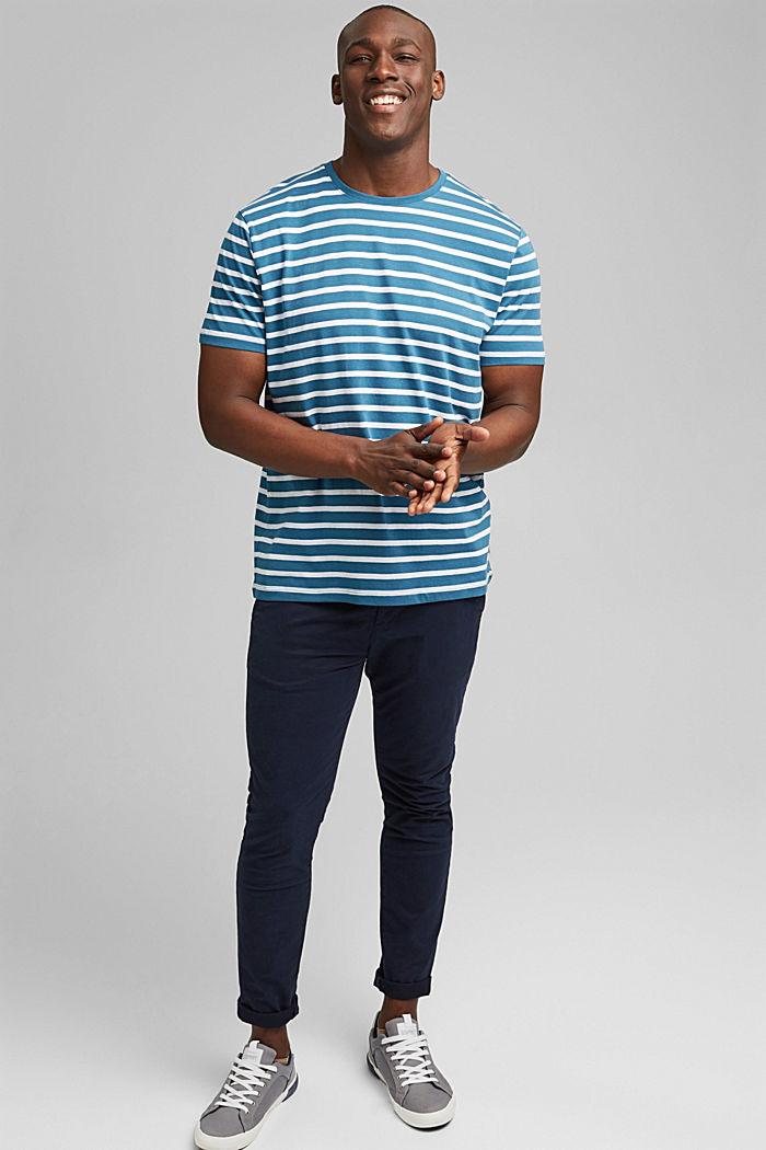 Pruhované tričko ze 100% bio bavlny, PETROL BLUE, detail image number 2