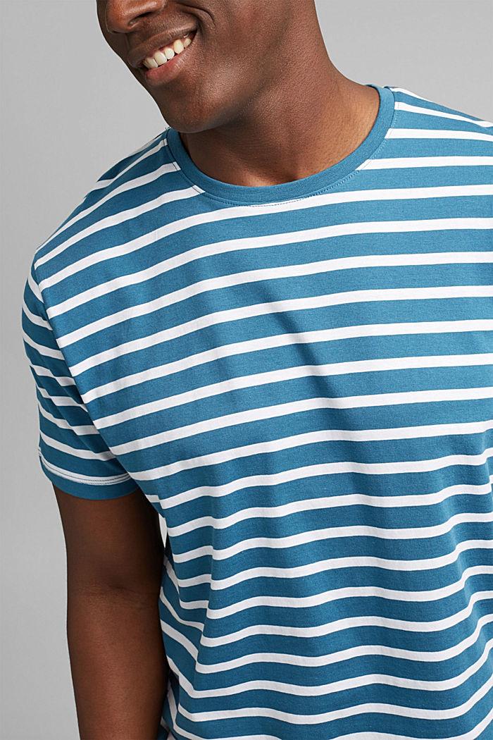 Pruhované tričko ze 100% bio bavlny, PETROL BLUE, detail image number 1