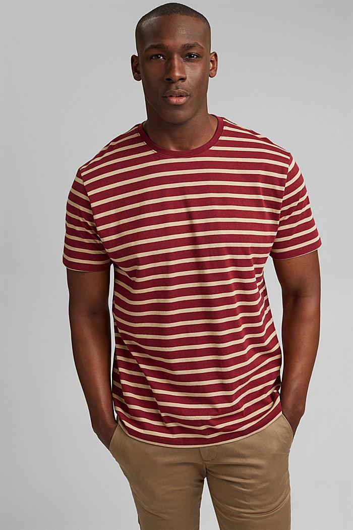 Gestreiftes T-Shirt aus 100% Bio-Baumwolle, GARNET RED, detail image number 0