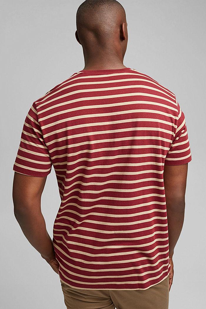 Gestreiftes T-Shirt aus 100% Bio-Baumwolle, GARNET RED, detail image number 3
