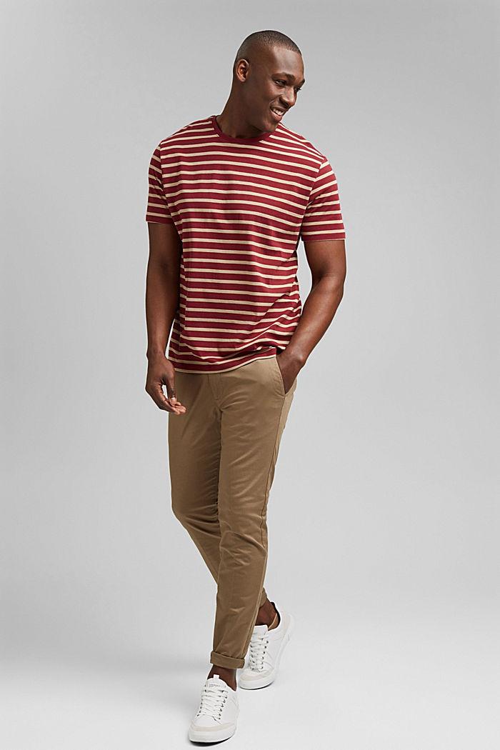 Gestreiftes T-Shirt aus 100% Bio-Baumwolle, GARNET RED, detail image number 2