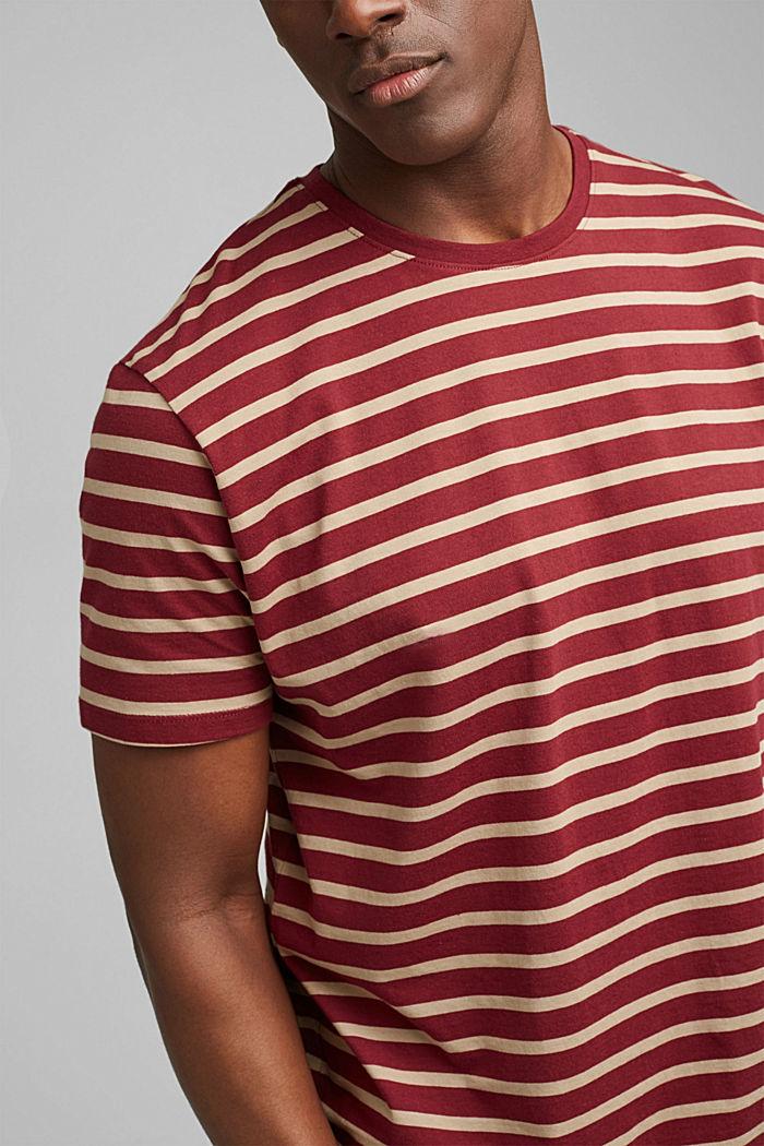 Gestreiftes T-Shirt aus 100% Bio-Baumwolle, GARNET RED, detail image number 1