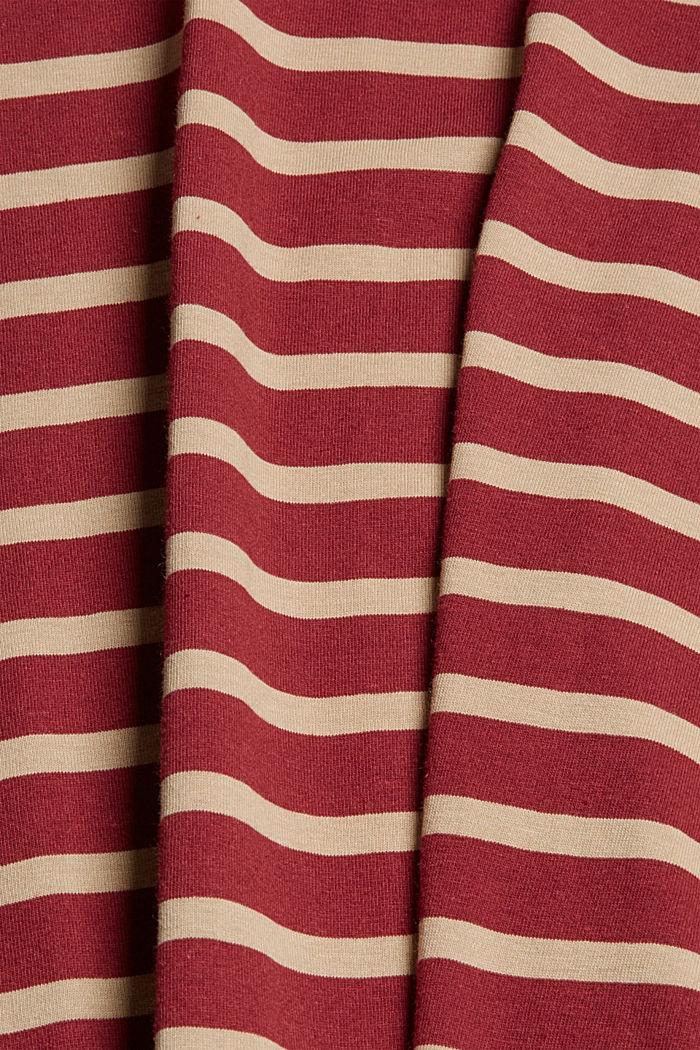 Gestreiftes T-Shirt aus 100% Bio-Baumwolle, GARNET RED, detail image number 4