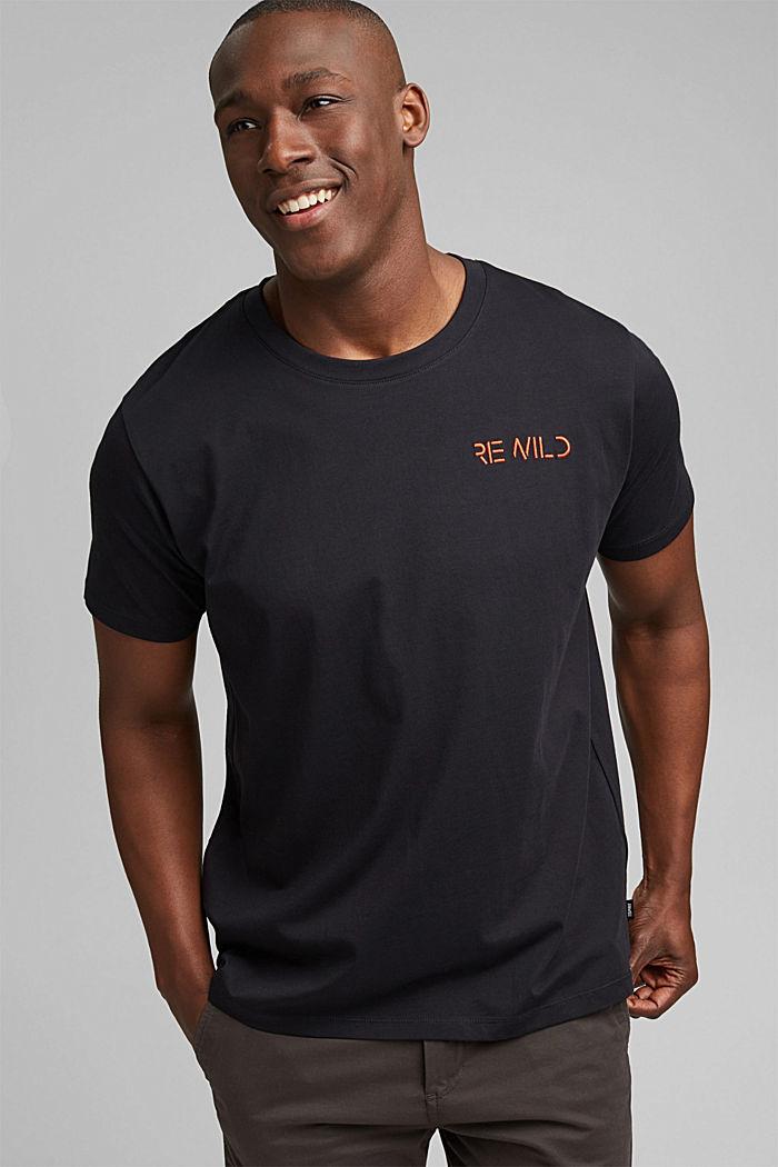 Kirjailtu jersey-T-paita, 100 % luomupuuvillaa