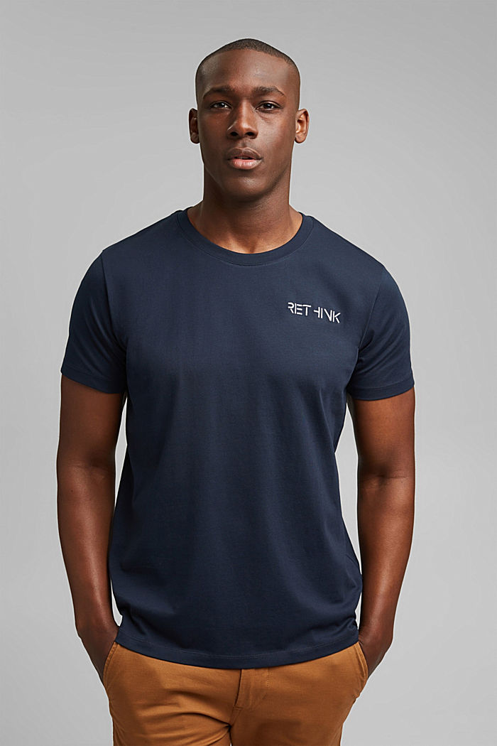 Jersey T-shirt with embroidery, 100% organic cotton, NAVY, detail image number 0