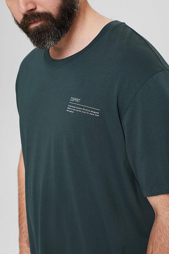 Jersey T-Shirt mit Print, 100% Bio-Baumwolle, TEAL BLUE, detail image number 1